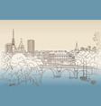 paris city seine riverback cityscape view spring vector image vector image