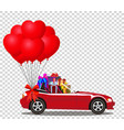 red cabriolet car full of gifts and bunch of red vector image vector image
