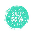sale 50 inscription blue painted spot brush stroke vector image