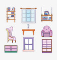 set of study room elements vector image