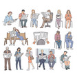 set people reading newspaper vector image vector image