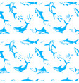 Sharks silhouettes seamless pattern