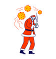 sick santa claus character wearing red costume vector image