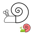 Snail coloring book Gastropoda clam with spiral vector image vector image