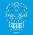 sugar skull flowers on the skull icon outline vector image vector image