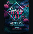 summer cocktail disco party typography poster vector image vector image