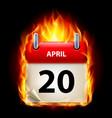 twentieth april in calendar burning icon on black vector image vector image