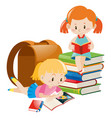 two girls reading text books vector image
