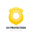 uv protection sun on shield icon symbol on white vector image vector image