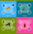 weapons 3d banner set isometric view vector image vector image