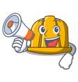 with megaphone construction helmet character vector image vector image