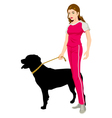 Woman and A Dog vector image vector image