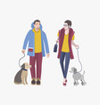 young guy and girl walking with dogs colorful vector image vector image