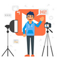 blogger man that records video blog vector image