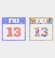 13th friday calendar page mosaic icon of vector image vector image