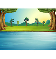 A forest with a river vector image vector image