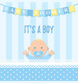 baby shower boy card blue banner with kid