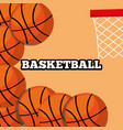 basketball balls and hoop sport background design vector image