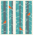 birds in winter forest vector image