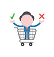 businessman character inside shopping cart and vector image vector image