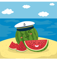 Captain Watermelon at the Beach vector image vector image