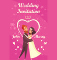 cartoon wedding invitation vector image vector image