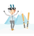 Cheerful skier standing with raised hands vector image vector image