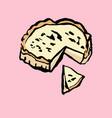 cheesecake icon sweet cake pie grunge brush vector image vector image