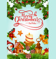 christmas holiday candle and xmas tree card design vector image