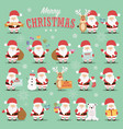 collection cute santa claus characters vector image vector image