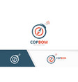 compass and bomb logo combination vector image