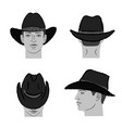 cowboy hat template and man head vector image