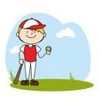 cute boy avatar character playing baseball vector image