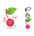 cute cherry with juicy drops vector image vector image
