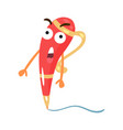 cute red surprised cartoon humanized pen character vector image vector image