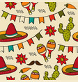 Doodle seamless pattern with mexico symbols vector image