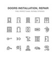 doors installation repair line icons various vector image vector image