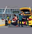 family traveler outside airport vector image