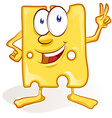 fun cheese cartoon on white background fun cheese vector image