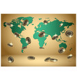 gold background with world map and bitcoins vector image