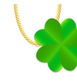 Gold Chain Jewelry whith Green Four-leaf Clover vector image vector image