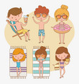 group kids with beach suits vector image vector image