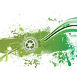 grunge green background with recycle stamp vector image vector image