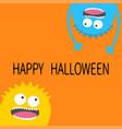 happy halloween card screaming monster head vector image