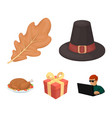 hat of a pilgrim oak leaf gift in a box fried vector image vector image