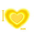 I love Sun Symbol of heart of the Sun fo vector image