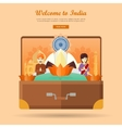 India Travel Banner Indian Landmarks in Suitcase vector image vector image