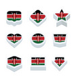 kenya flags icons and button set nine styles vector image
