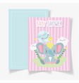 little elephant world clouds star bashower card vector image vector image