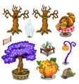 Magical trees pumpkin and other magical things vector image